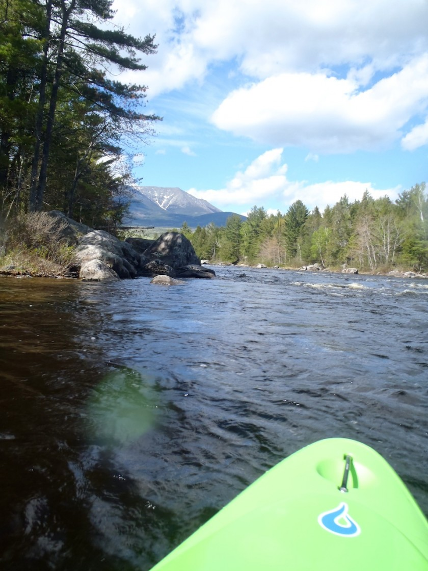 Looking up at Katahdin from above Abol Falls on the West Branch of the Penobscot