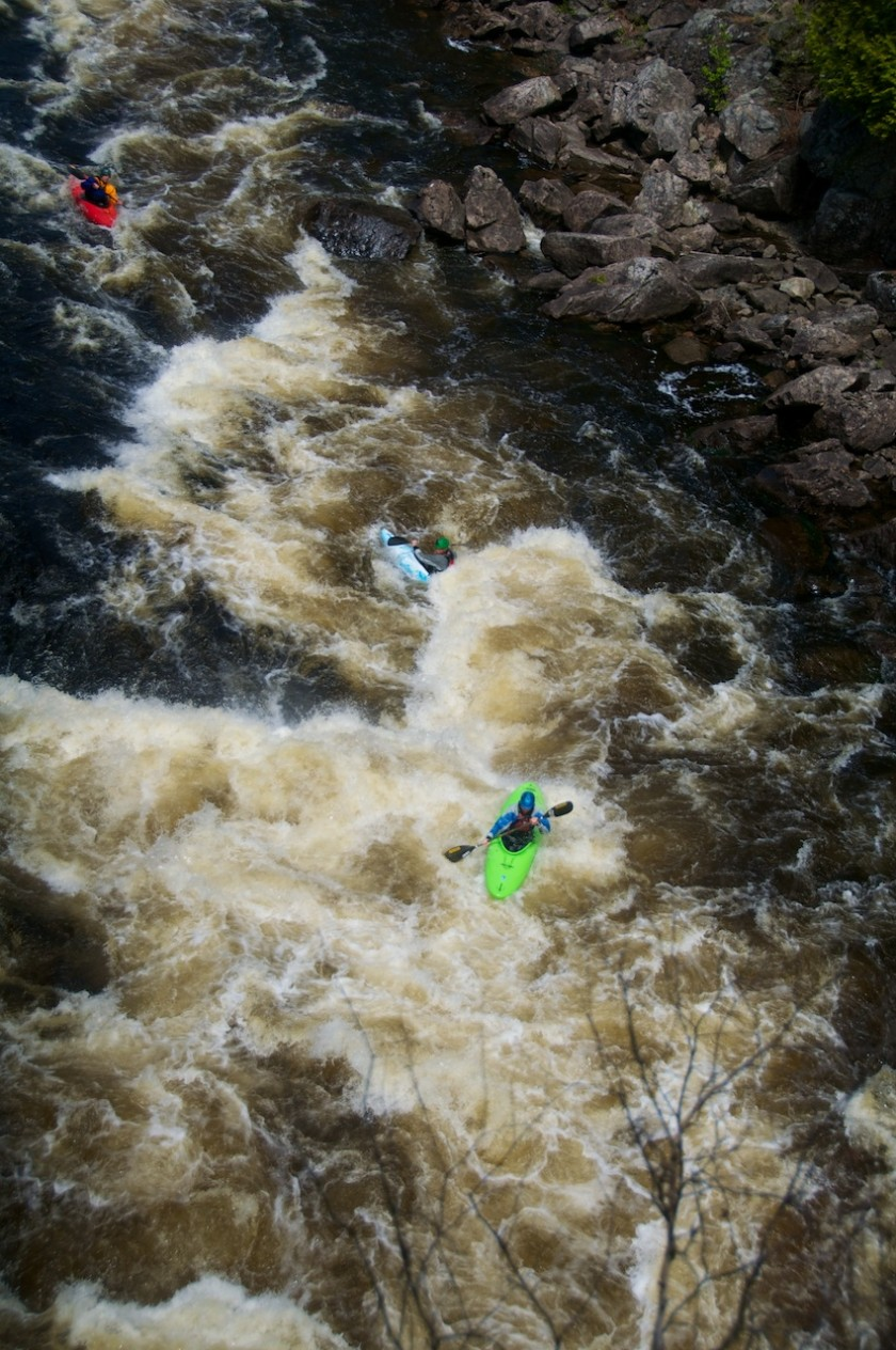 Peter, Rigg and I running Exterminator in Rip Gorge on the West Branch of the Penobscot