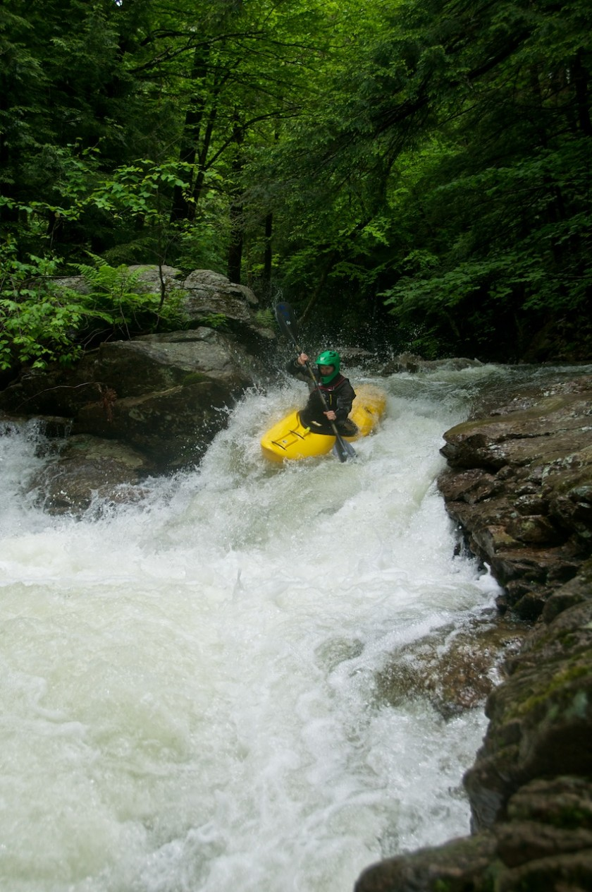 Scott entering NO2 Chute on Cold Brook in NH