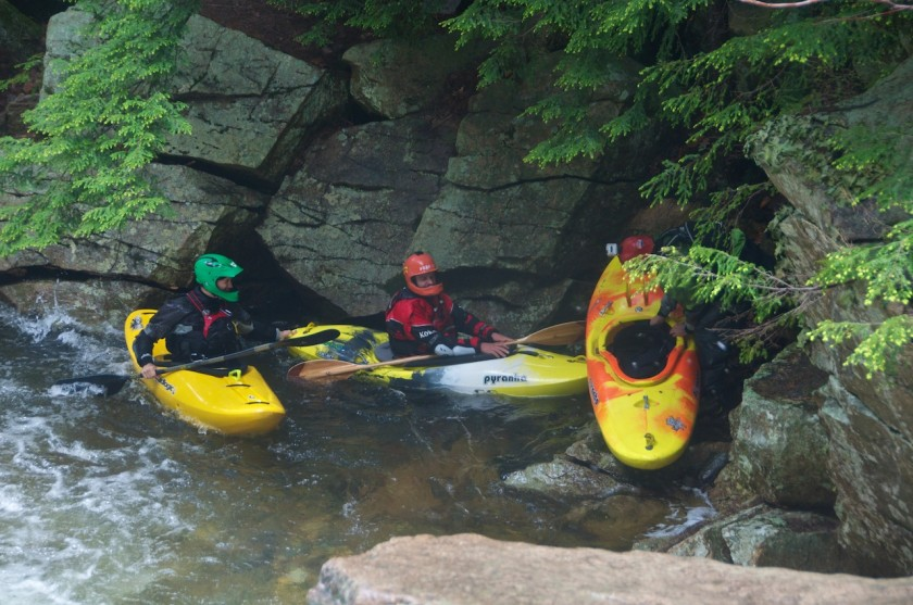 Scott and Jeremy trying to find out what happened to Joey in NO2 Chute on Cold Brook in NH