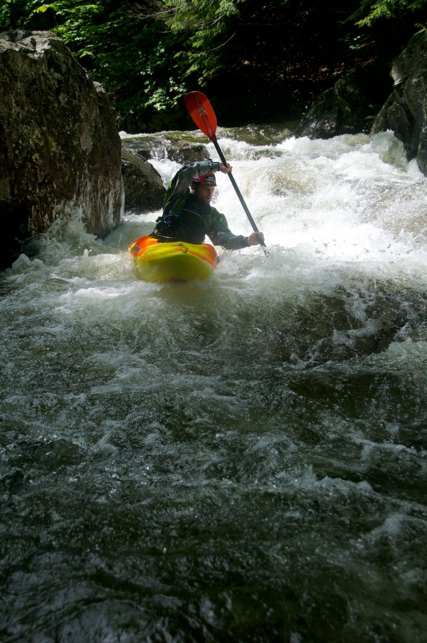 Joey lining up in Cold Fusion on Cold Brook in NH