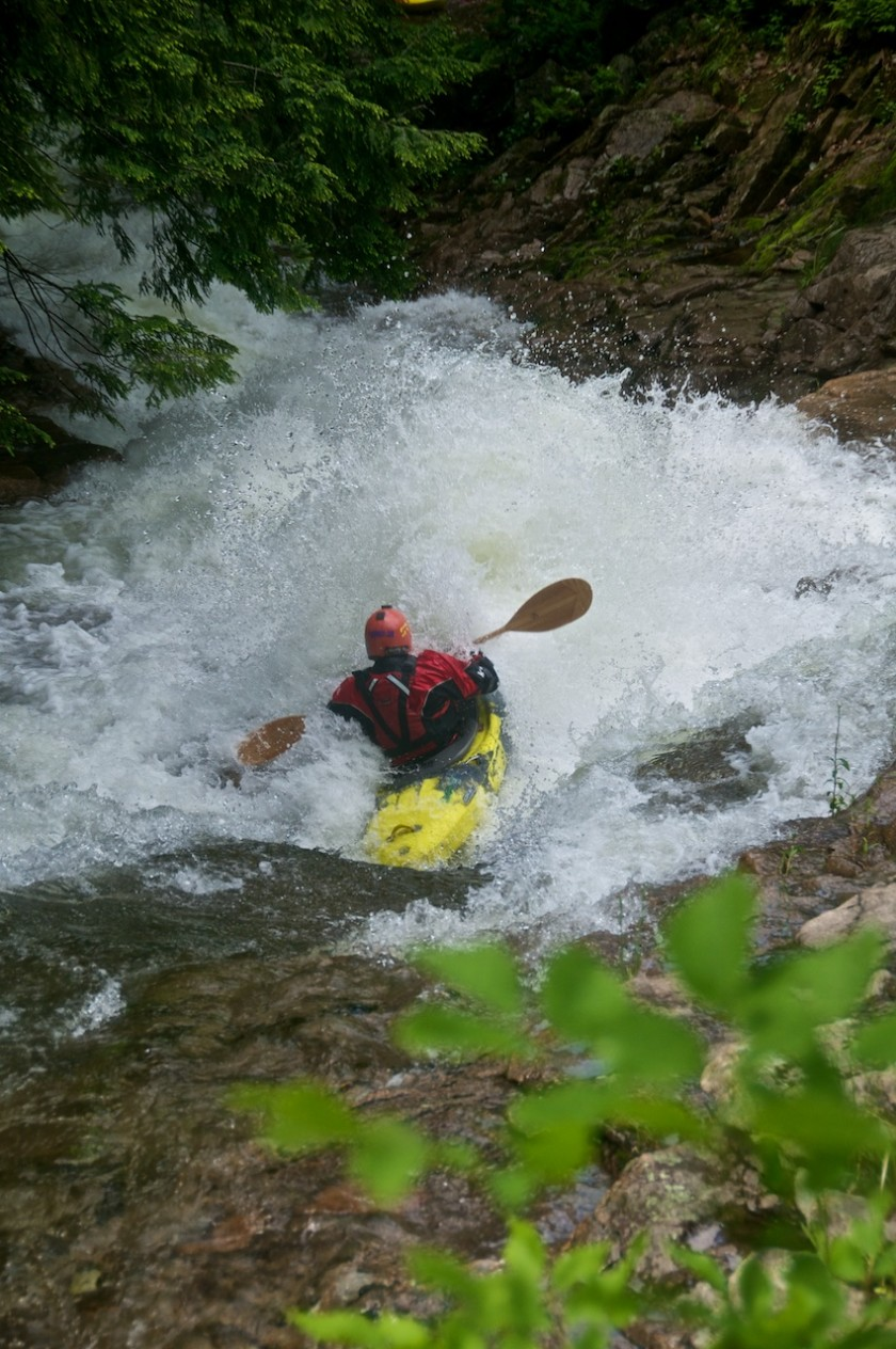 Jeremy hitting the first rooster tail in Particle Accelerator on Cold Brook in NH