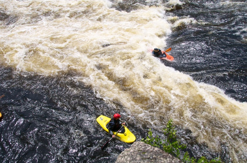 Walter surfing at Third Drop of Big A on the West Branch of the Penobscot.