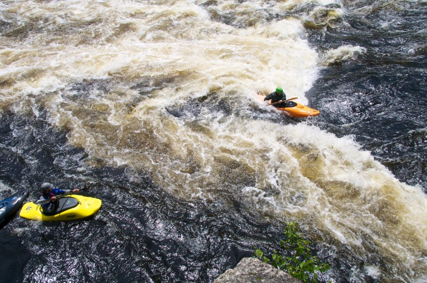 Ryan surfing at Third Drop of Big A on the West Branch of the Penobscot.