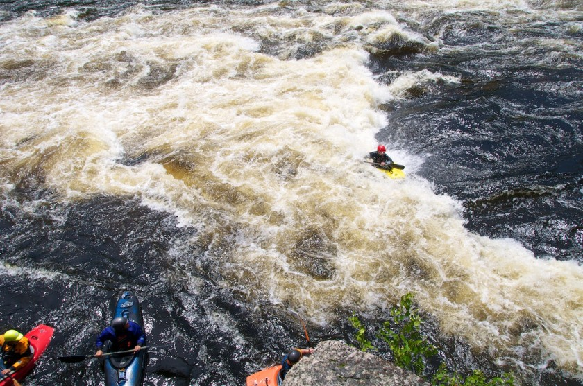 Mike surfing at Third Drop of Big A on the West Branch of the Penobscot.