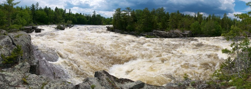 Pano of Cribworks at high water on the West Branch of the Penobscot.