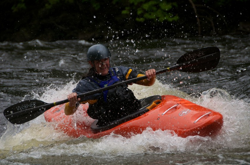 Kit coming into the finish of the K-Bomb race on the Kennebec River.