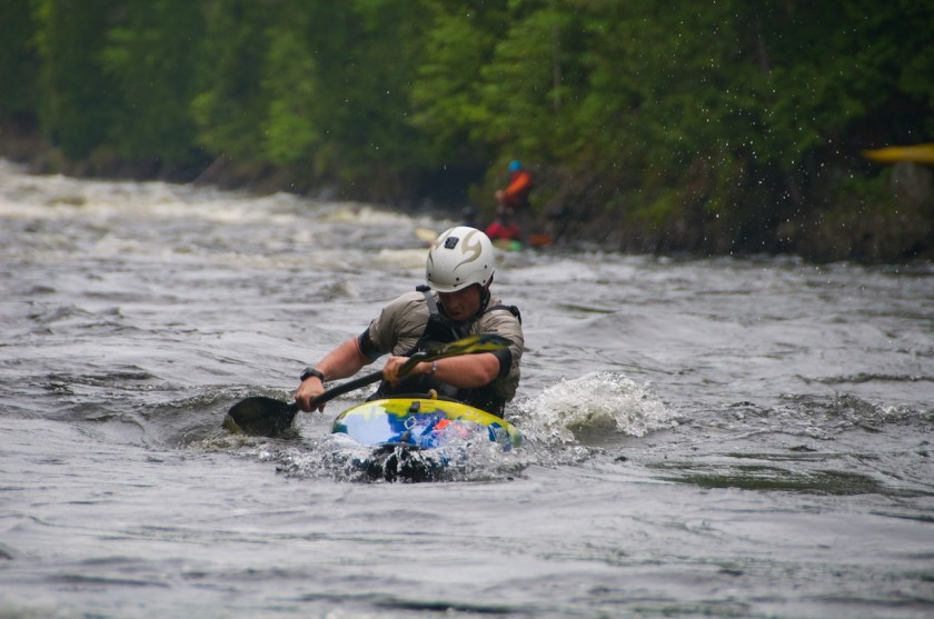 Chuck coming into the finish of the K-Bomb race on the Kennebec River.