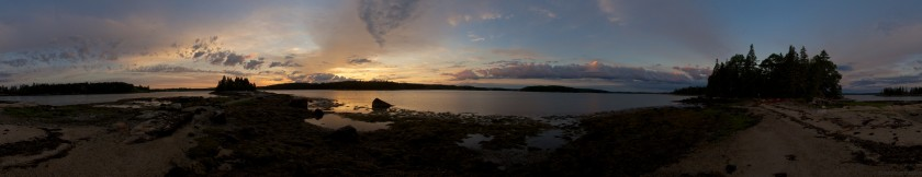Sunrise on Spectacle Island on the Sheepscot River during a Sea Kayaking trip with the Juniper Cabin