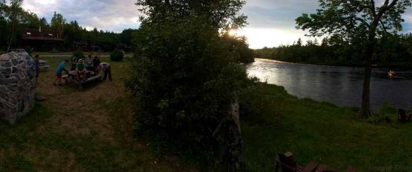Sunset at Big Eddy Campground on the West Branch of the Penobscot with the Shang-Tu cabin