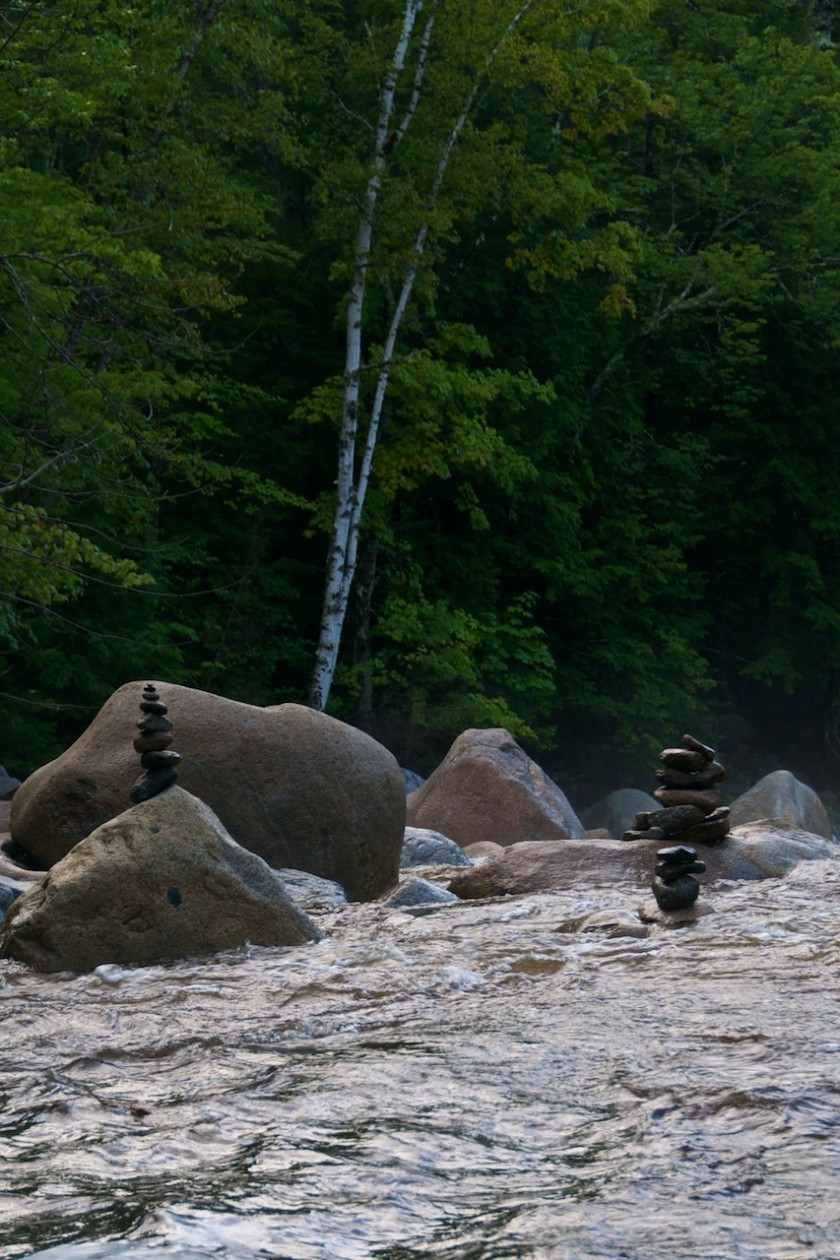 Cairns in the middle of the Sawyer River