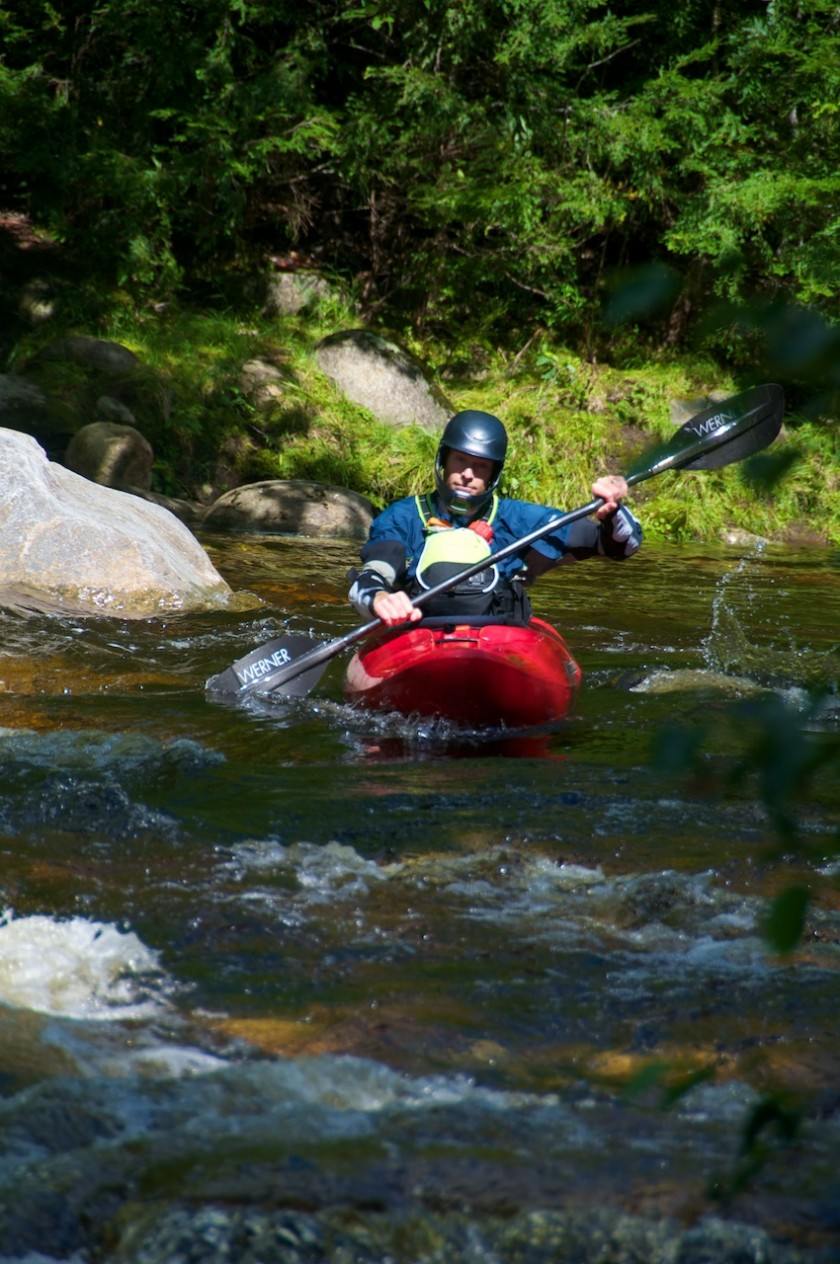 Jeff paddling toward Frenchmans's hole on the Bull Branch of the Sunday River