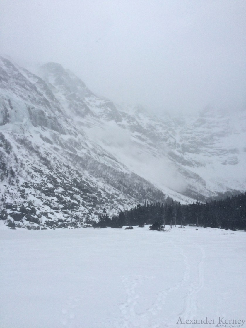 Loose Dry Slide out of Pamola's Fury during Avalanche 2 at Chimney Pond