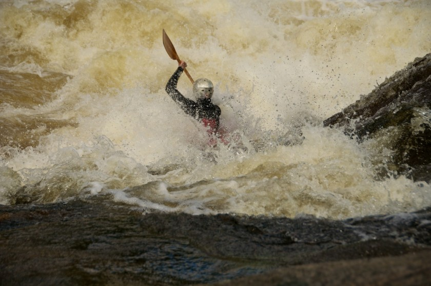 Jeff gets a face full of Newsowadnehunk Falls on the West Branch of the Penobscot