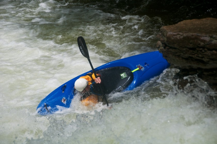 Joel rolling up after NO2 Chute on Cold Brook in NH
