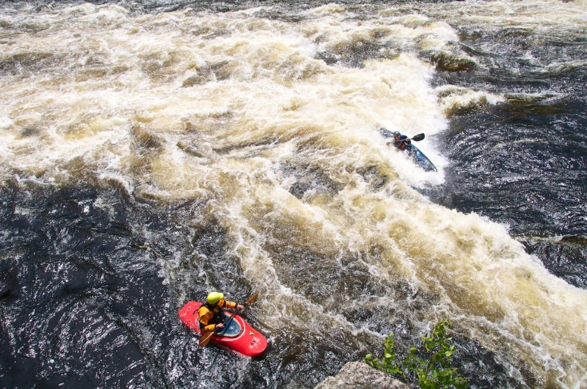 Greg surfing at Third Drop of Big A on the West Branch of the Penobscot.