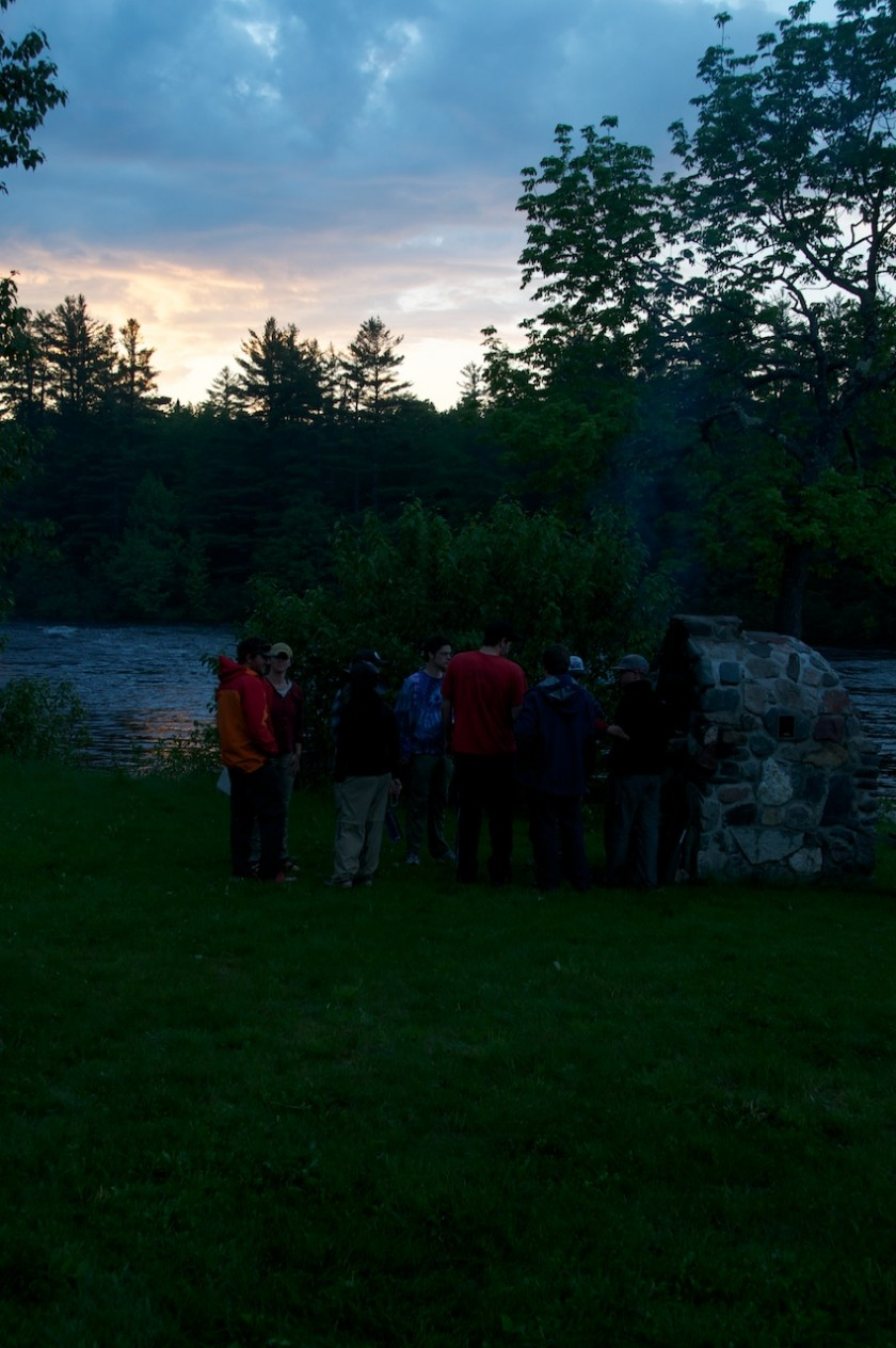 Cooking pizzas at Big Eddy on the West Branch of the Penobscot