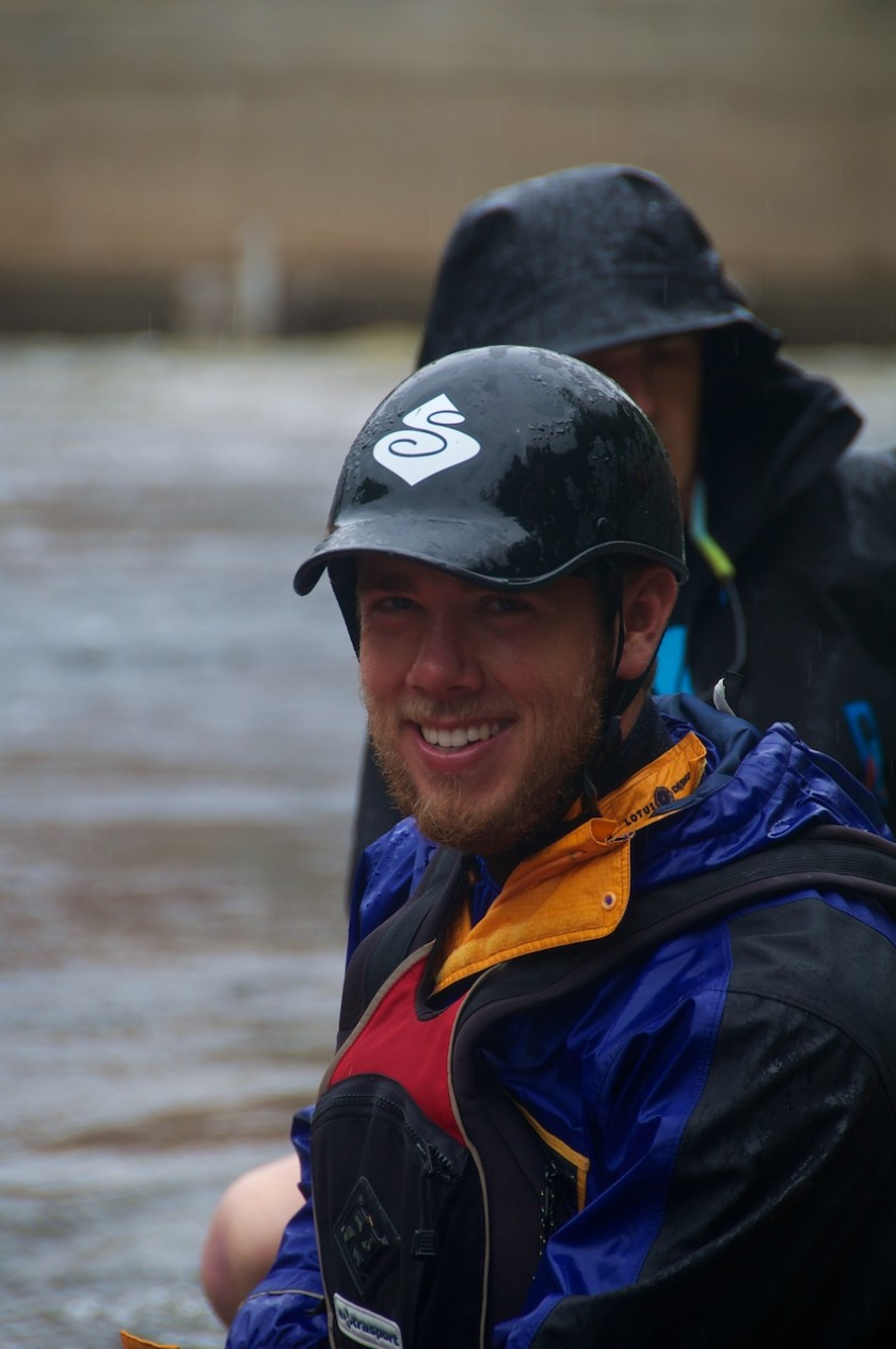 Daniel waiting at the starting line of the K-Bomb Race on the Kennebec River