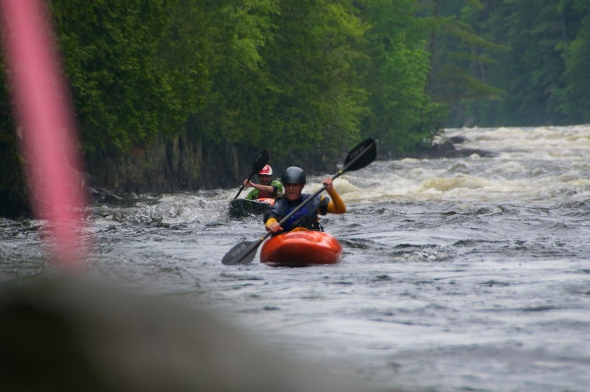 Kit and Ruben coming into the finish of the K-Bomb race on the Kennebec River.