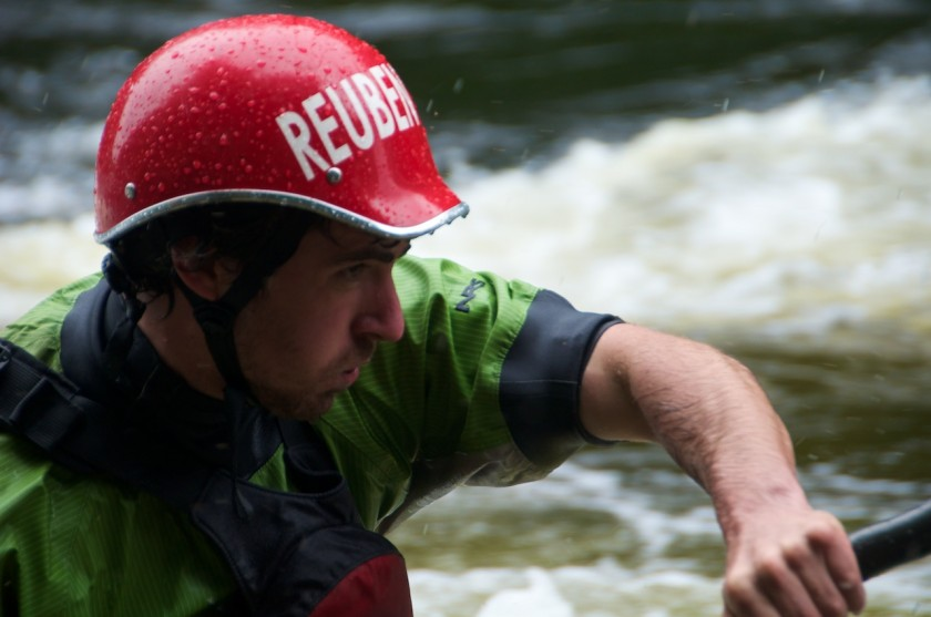 Ruben coming into the finish of the K-Bomb race on the Kennebec River.