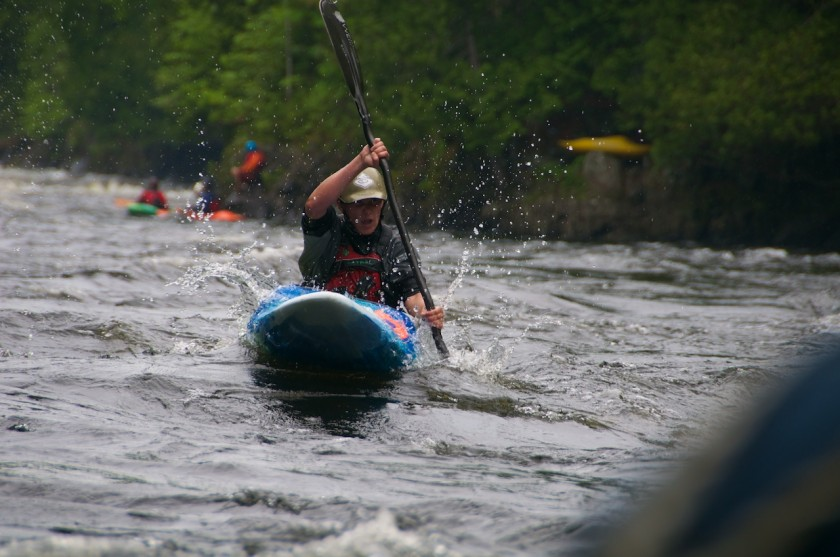 Becca coming into the finish of the K-Bomb race on the Kennebec River.