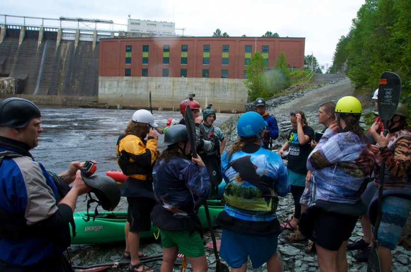 Duo Mass Start meeting for the K-Bomb race on the Kennebec River.