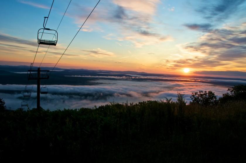 Sunrise at Shawnee Peak while hiking up with Bridgton Academy faculty
